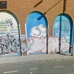 Street art by Mart, Jaz and others defaced by tags since Feb 2014. Source Google Street View.