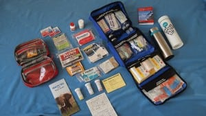 Our pharmaceuticals are in a carry-on pouch. Our first-aid supplies are checked separately.