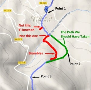 Map of the starting section of The Walk by Goat Horn River