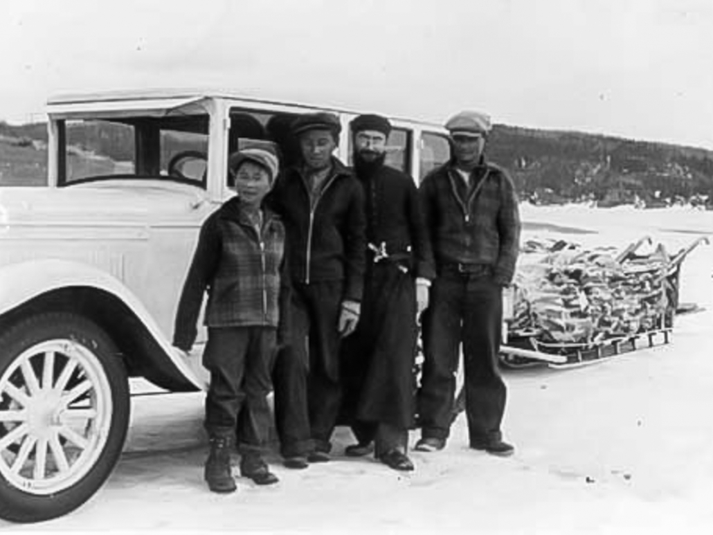 George Johnston's 1928 AB Chevrolet in winter camouflage on Teslin Lake 1940