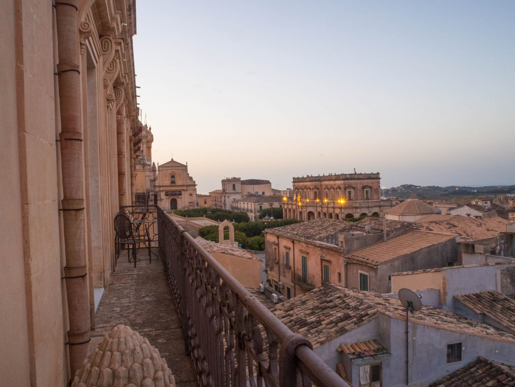 Noto's agglomeration of pantiled roofscapes as seen from the prince's bedroom